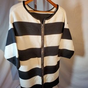 Sweaters - Ladies Black and White Striped Sweater